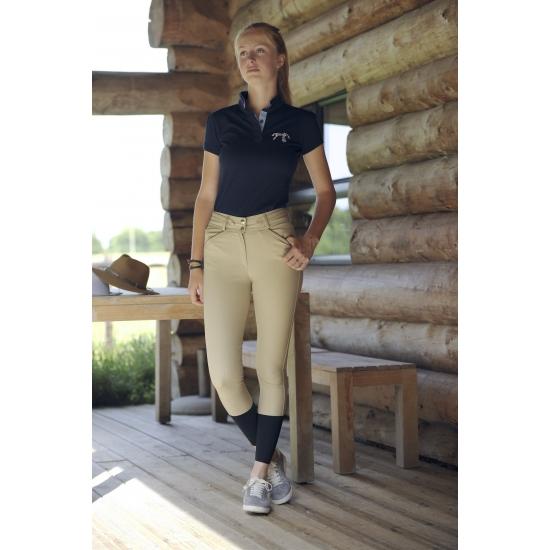 Pantalon d'équitatiion - crème point sellier caramel