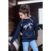 Child Double Zip Sweater- Navy