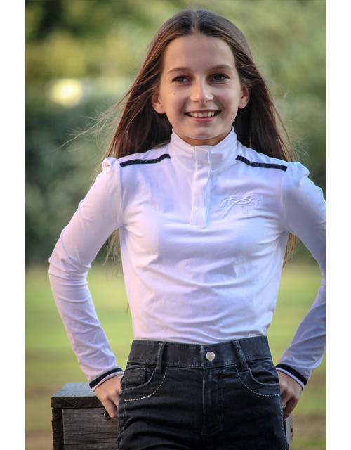 Polo de concours Bruges Enfant - Blanc & Marine Pénélope-store